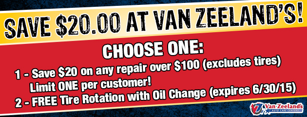 Save $20 on Repairs over $100 and Free Tire Rotation with Oil Change