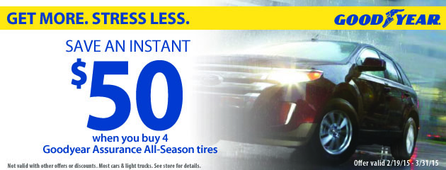 Buy 4 Goodyear Assurance Get $50 Instant Savings