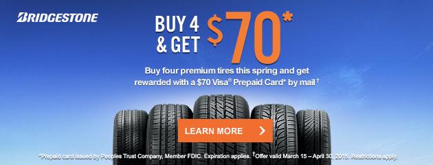 Bridgestone $70 Rebate Canada
