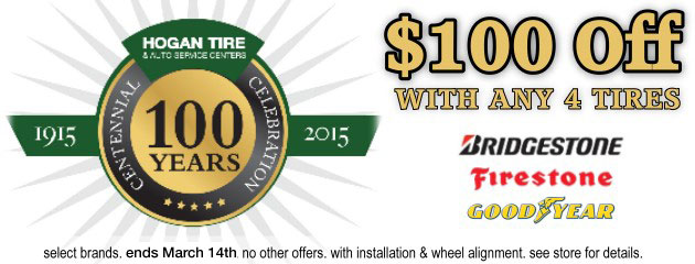 $100 OFF with 4 Tires & Alignment