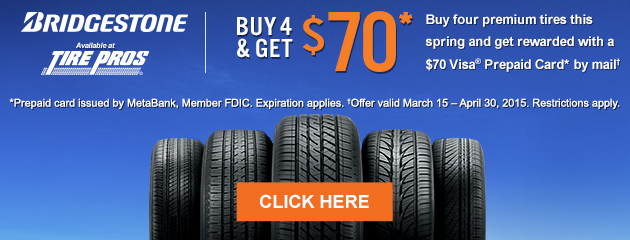 Bridgestone $70 Rebate Tire Pros