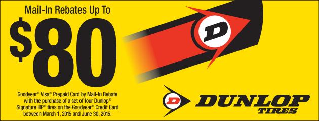 Dunlop up to $80 Rebate
