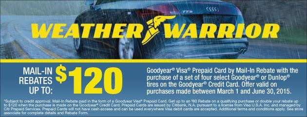 Goodyear CC up to $120 Rebate