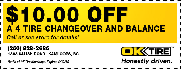 $10.00 off a 4 tire changeover and balance