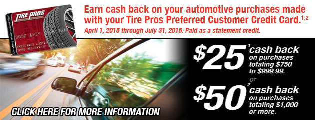 Tire Pros CC up to $50 Cash Back