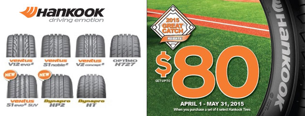 Hankook up to $80 Rebate
