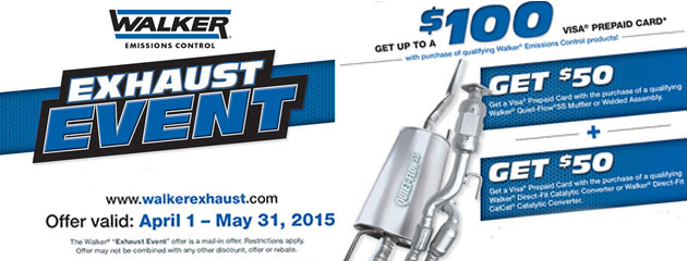 Walker Exhaust Up To $100 Rebate