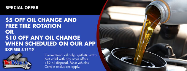 $5 OFF Oil Change and FREE Tire Rotation & $10 off Oil Change w/ Online Schedule