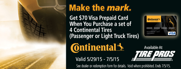 Continental $70 Rebate Tire Pros