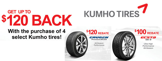 Kumho up to $120 Rebate