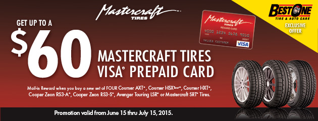 $60 Mastercraft Rebate Best One Tire and Auto Care