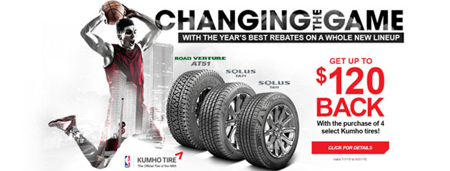 Kumho Tires up to $120 Rebate