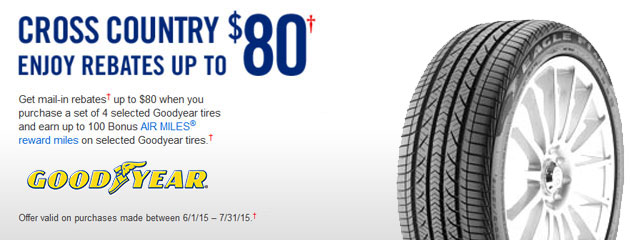 Goodyear up to $80 Rebate Canada
