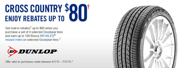 Dunlop up to $80 Rebate Canada