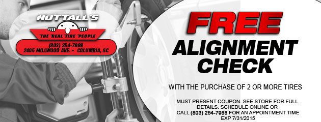 Free alignment check with the purchase of 2 or more tires