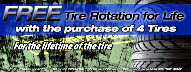 Free rotations for life with 4 new tires
