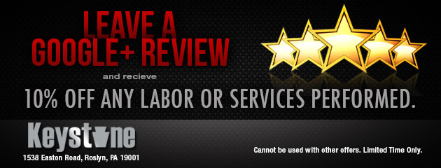 Leave a Google+ Review and receive 10% off any labor or services performed.