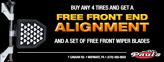 Buy any 4 tires and get a free front end alignment and a set of free front wiper blades