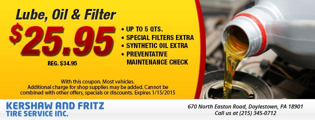 Lube, Oil & Filter $25.95