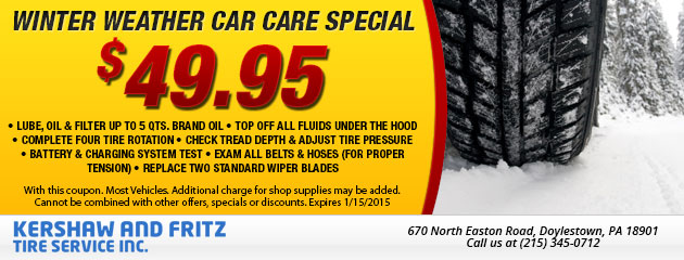 Winter Weather Car Care Special - $49.95