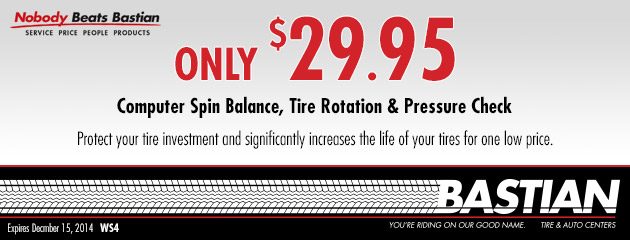 $29.95 Computer Spin Balance, Tire Rotation & Pressure Check