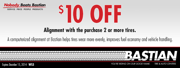 $10.00 Of Wheel Alignment With The Purchase Of 2 Or More Tires