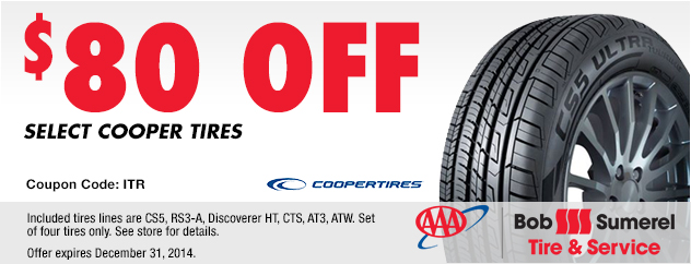 $80 Off select Cooper Tires.