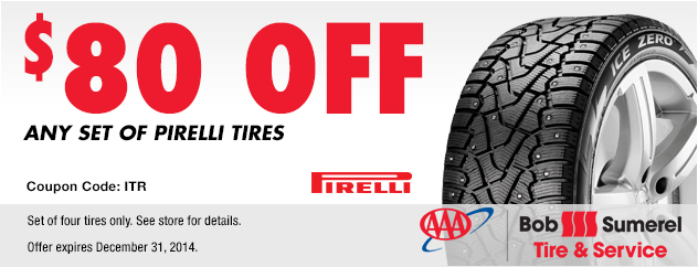 $80 off any set of Pirelli Tires.