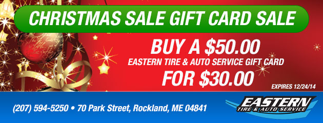 Buy a $50.00 Eastern Tire & Auto Service Gift Card for $30.00