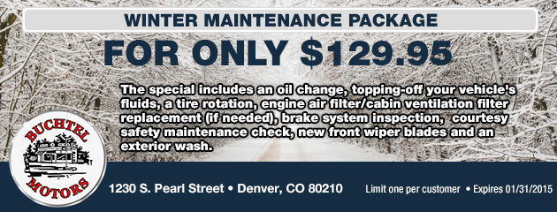 Winter Maintenance Package For Only $129.95