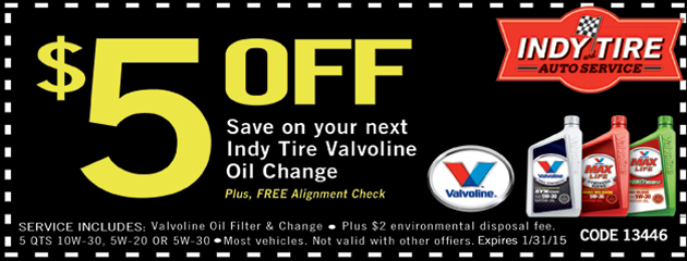 $5 Off Your Next Indy Tire Valvoline Oil Change