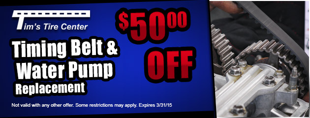 $50.00 off Timing Belt and Water Pump Replacement