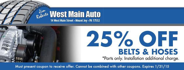 25% Off Belts and Hoses