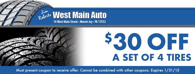 $30 Off A Set of Tires