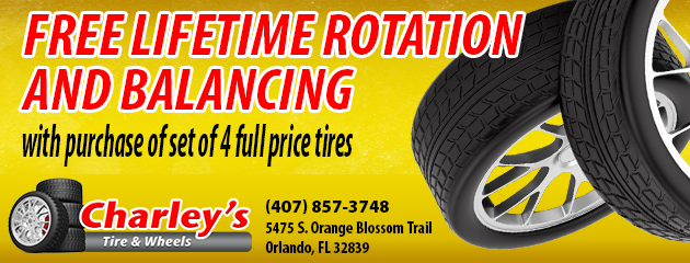 free lifetime rotation and balancing with purchase of set of 4 full price tires
