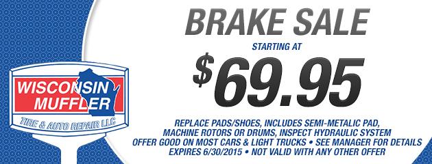 Brake Sale Starting At $69.95