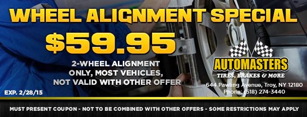 Wheel alignment special - $59.95