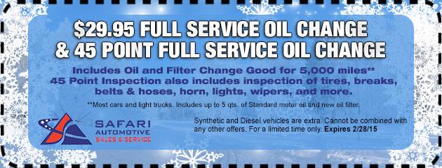 $29.95 Full Service Oil Change 45 Point Full Service Oil Change