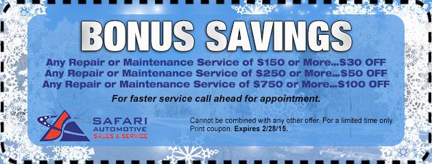 Bonus Savings On Repair Or Maintenance