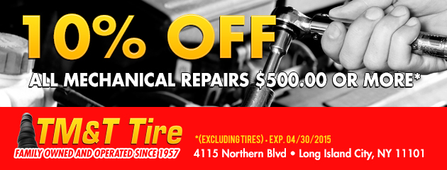 10% off all mechinal repairs $500.00 or more