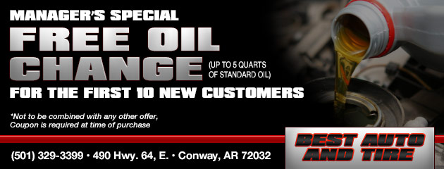Manager's Special: Free oil change (Up to 5 quarts of standard oil) for the First 10 New Customers