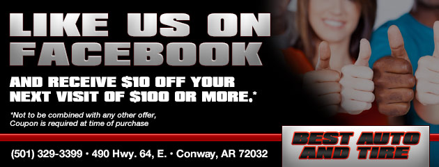 Like us on Facebook and receive $10 Off your next visit of $100 or more