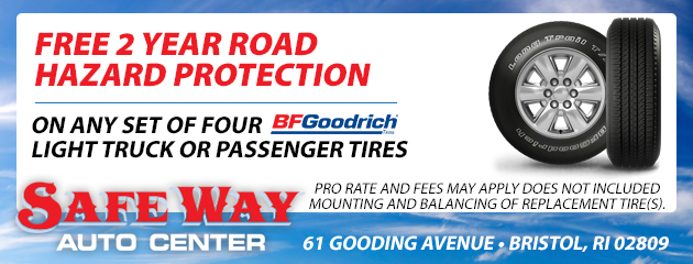 Free 2 Year Road hazard protection on any set of four BFGoodrich light truck or passenger tires.