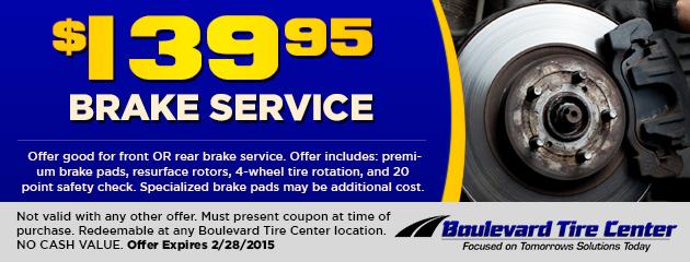 $139.95 Brake Service