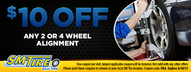$10 off any 2 or 4 wheel alignment