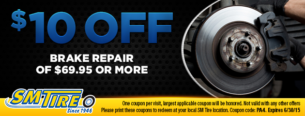 $10 off brake repairs of $69.95 or more