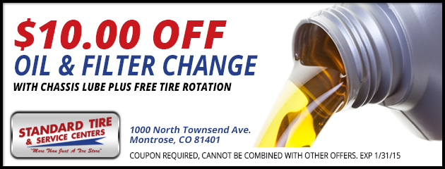 $10 Off Oil & Filter Change with Chassis Lube Plus Free Tire Rotation
