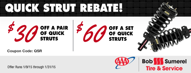 Quick Strut Rebate! $30 off a pair/$60 off a set of Quick Struts