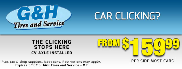 Car Clicking? CV axle installed from $159.99