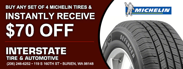 Buy any set of 4 Michelin tire and instantly receive $70 Off